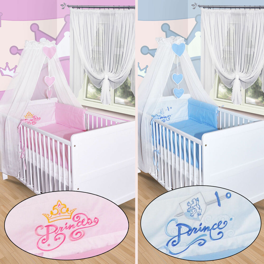 baby bettw sche himmel nestchen bettset mit stickerei 100x135 neu prinz princess ebay. Black Bedroom Furniture Sets. Home Design Ideas