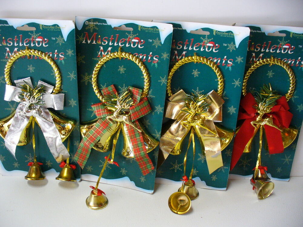 Lot of 4 door wall hanger bells 10 indoor outdoor for Outdoor christmas wall decorations