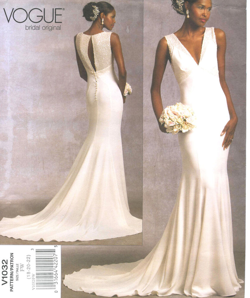 Misses Lined Bridal Gown Dress Sewing Pattern Train Pleated Bodice Vogue 1032