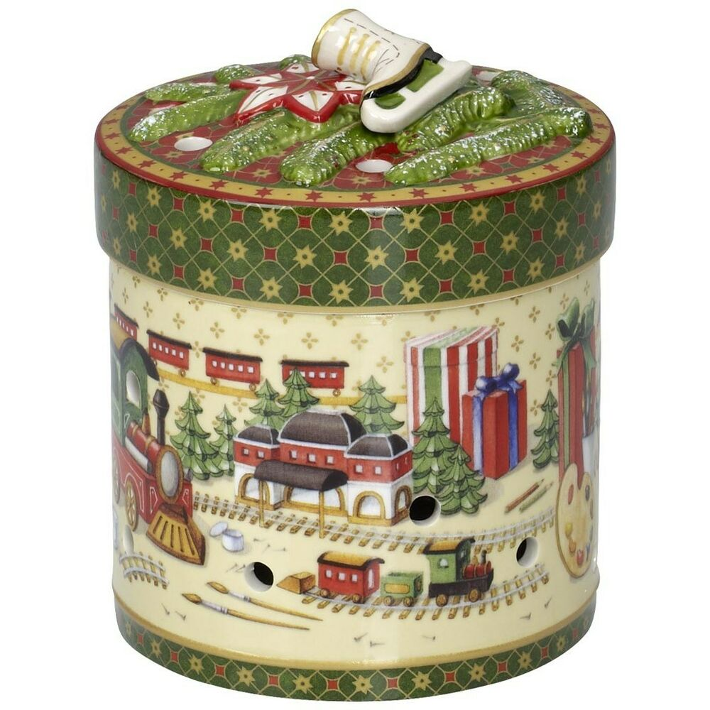 villeroy boch christmas toys trains round red large gift music box 5886 ebay. Black Bedroom Furniture Sets. Home Design Ideas