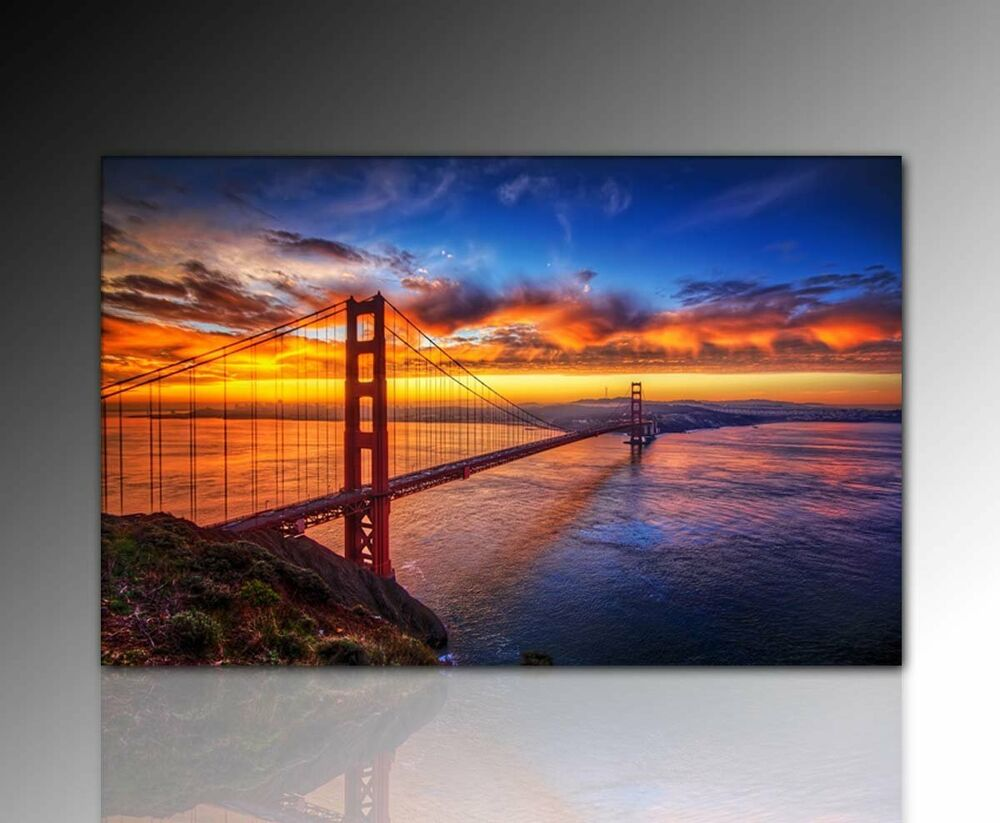 110x70cm wandbild golden gate san fransisco skyline leinwandbild sonnenuntergang ebay. Black Bedroom Furniture Sets. Home Design Ideas