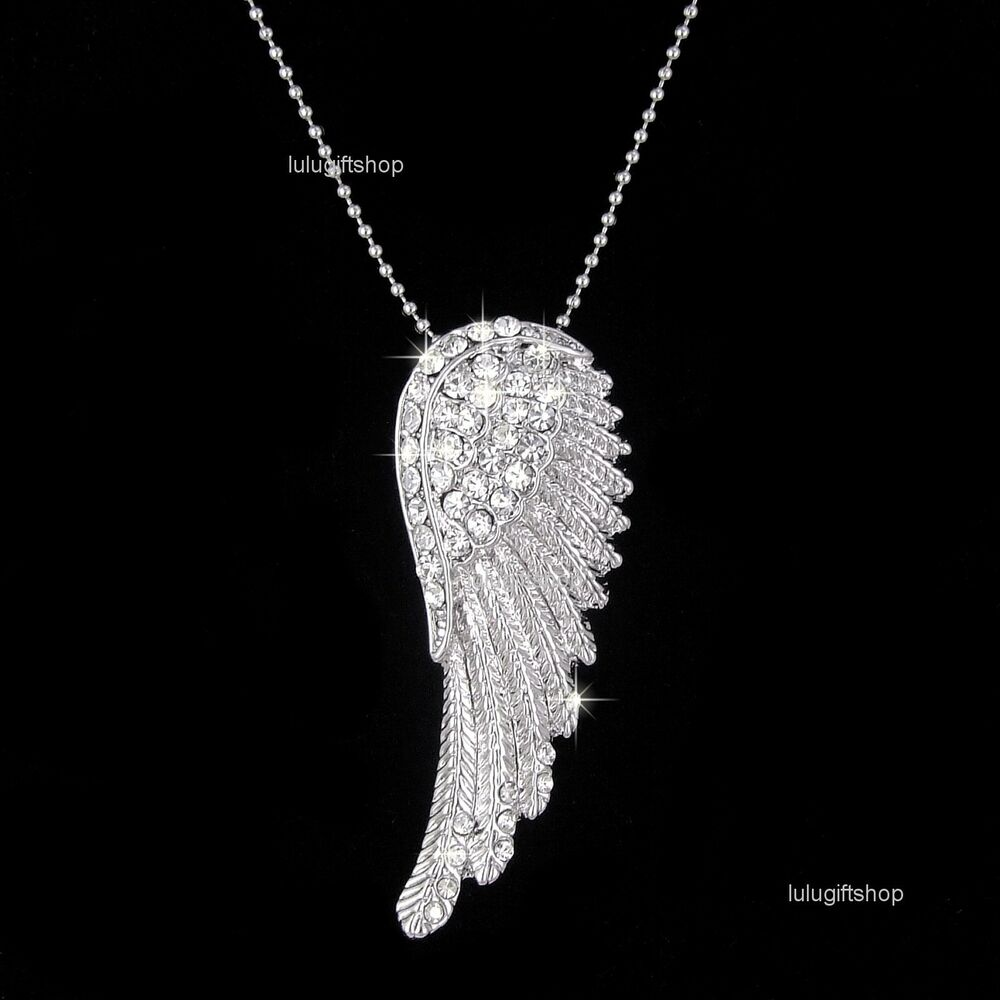 18k white gold plated angel bird wing pendant necklace use. Black Bedroom Furniture Sets. Home Design Ideas