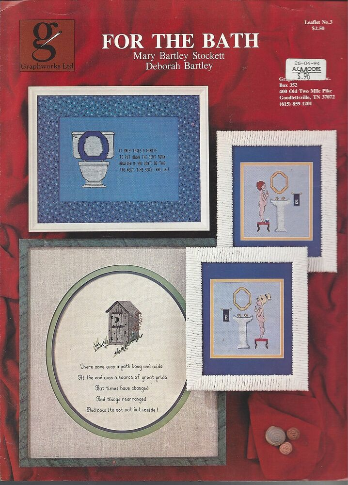 For the bath graphworks cross stitch ebay for Bathroom cross stitch patterns free
