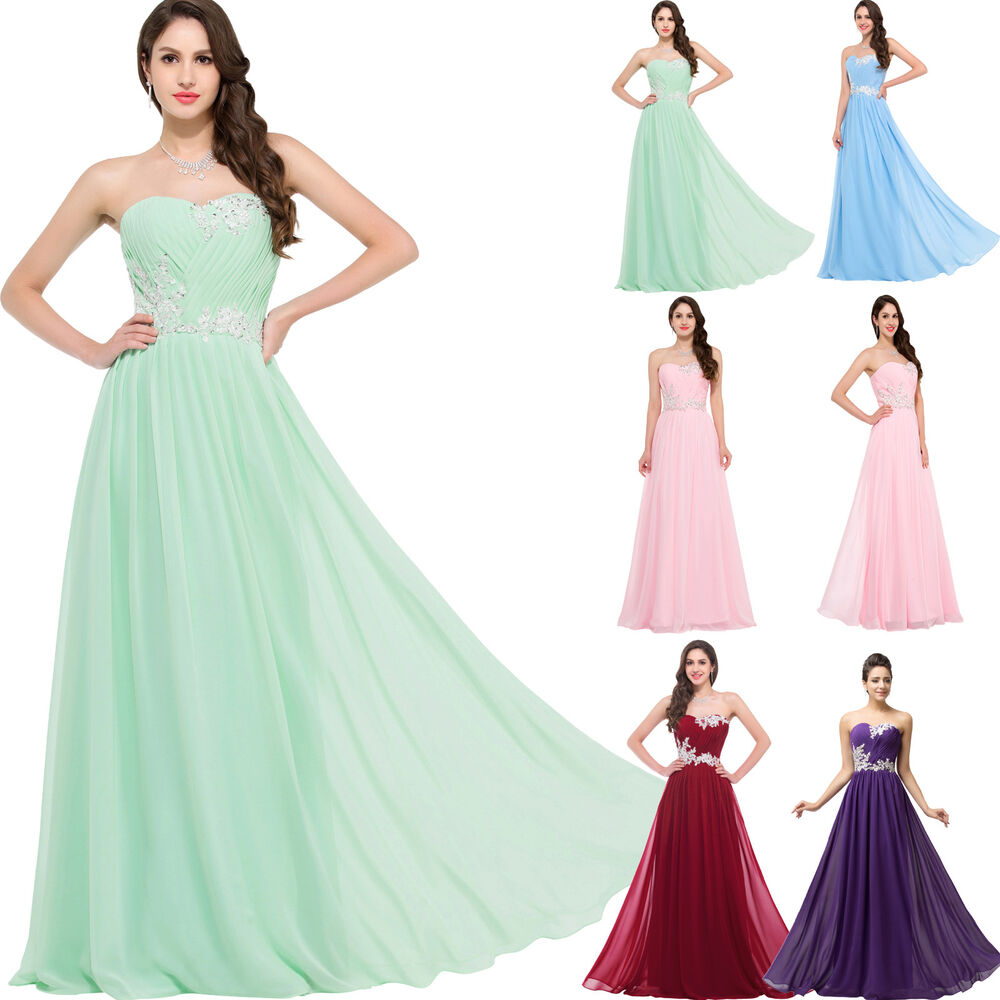 Cheap stock chiffon bridesmaid gown evening prom for Cheap wedding dresses ebay