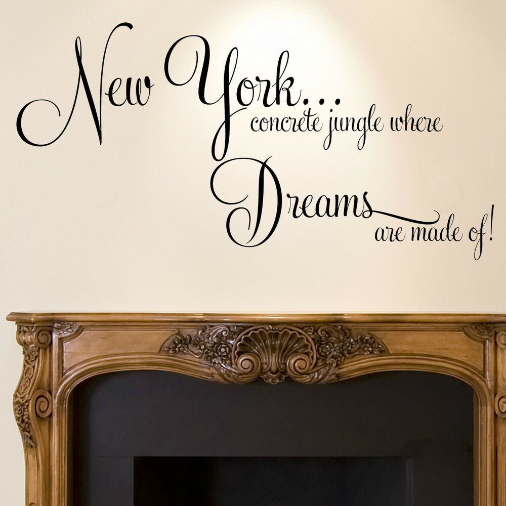 New York Wall Sticker Quote Dreams Home Bedroom Decal Art EBay