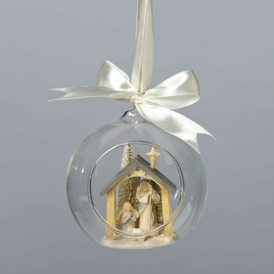 Foundations Christmas NATIVITY ORNAMENT Glass Dome ...