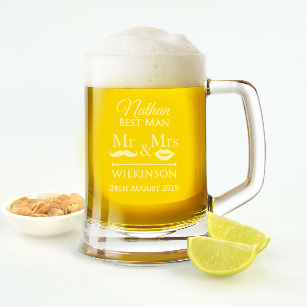Wedding Gift Beer Mugs : Personalised 500ml Beer Mug Gift Box Bridal Party Wedding Engraved ...