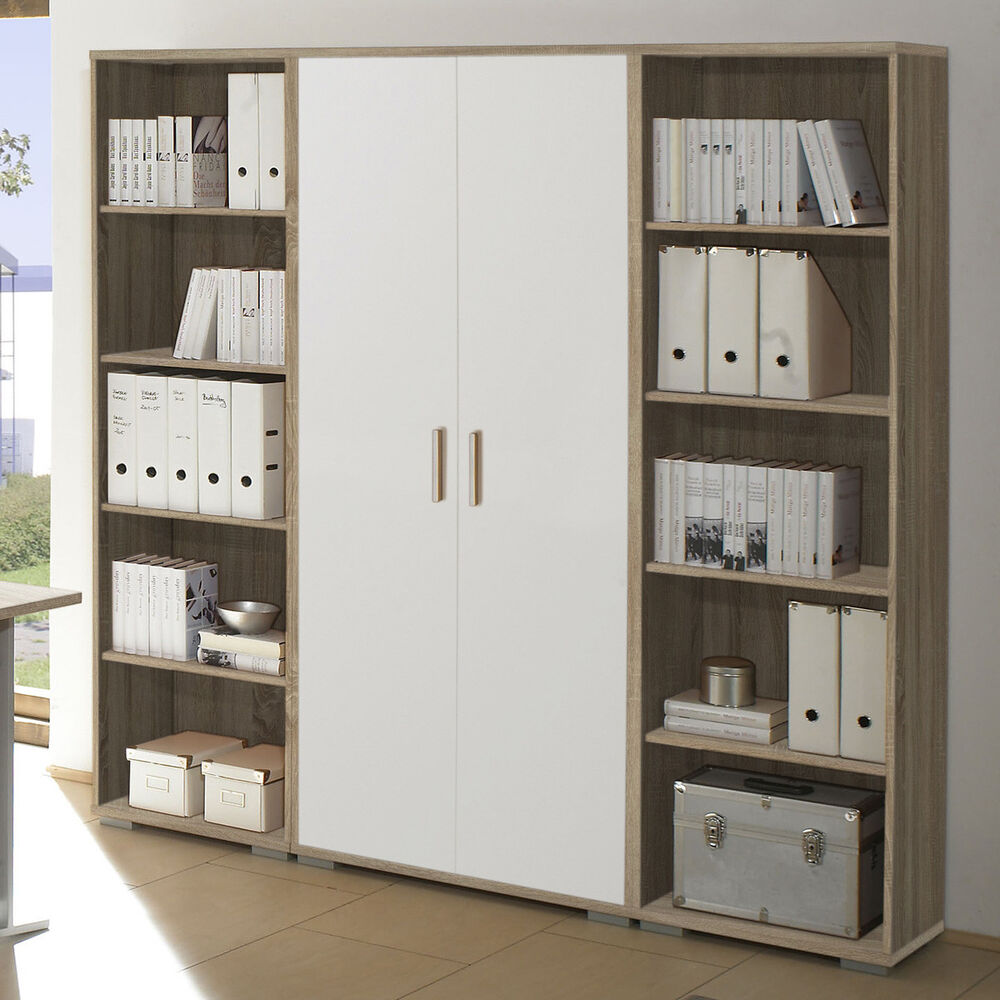 regalwand office line arbeitszimmer regal schrank b ro sonoma eiche wei ebay. Black Bedroom Furniture Sets. Home Design Ideas