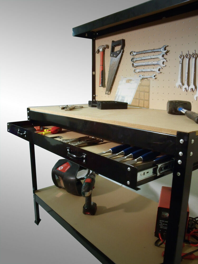 Tool Benches Garage : Heavy duty metal workbench for garage or workshop station