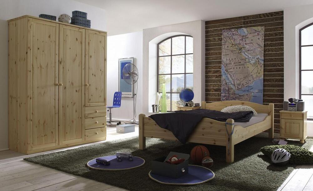 schlafzimmer komplett set jugendzimmer kinderzimmer massiv holz kiefer natur ebay. Black Bedroom Furniture Sets. Home Design Ideas