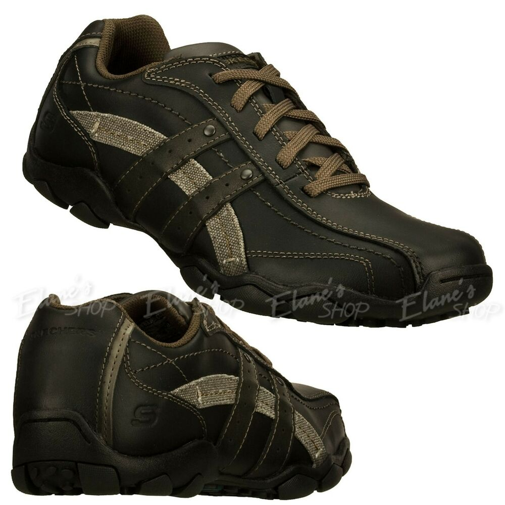 Mens Skechers Shape Ups Lace Up Black Shoes