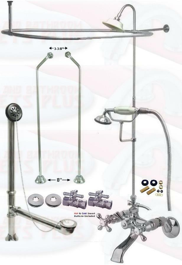Chrome Tub Mount Clawfoot Faucet Kit W/Shower Riser ...
