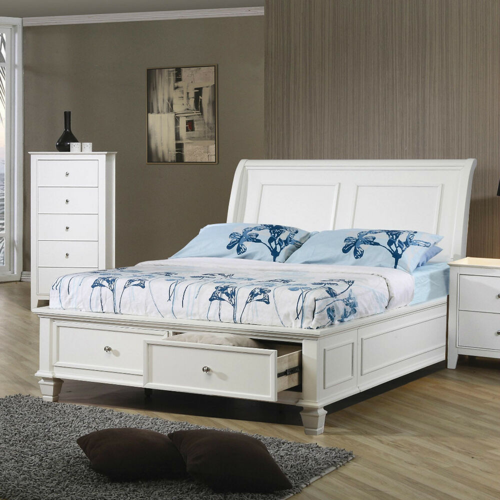 Sleek white full platform footboard storage sleigh bed for White full bedroom furniture