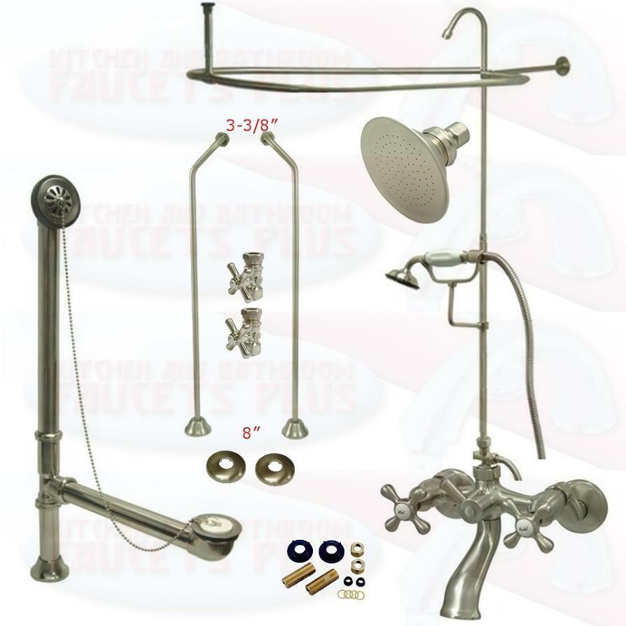 Satin Brushed Nickel Clawfoot Tub Faucet Kit W Shower