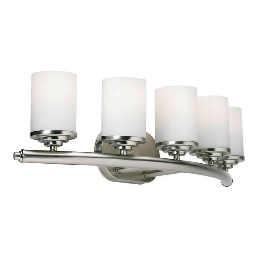Forte lighting 5 light bathroom vanity light in brushed for Bathroom vanity lights