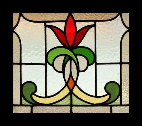 Stunning art nouveau flower antique english stained glass for Art glass windows