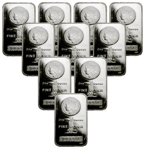 Lot Of 10 Morgan Dollar Design Bar 1 Oz 999 Silver Bars