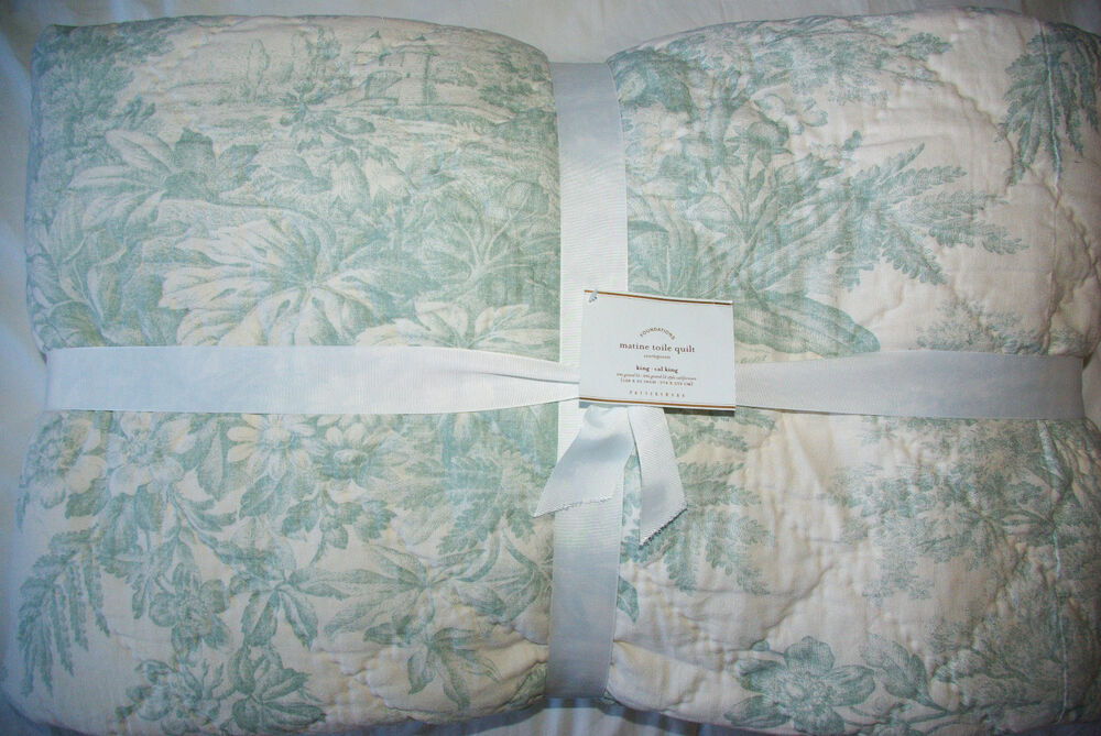 Pottery Barn Matine Toile Quilt Powder Blue King Cal