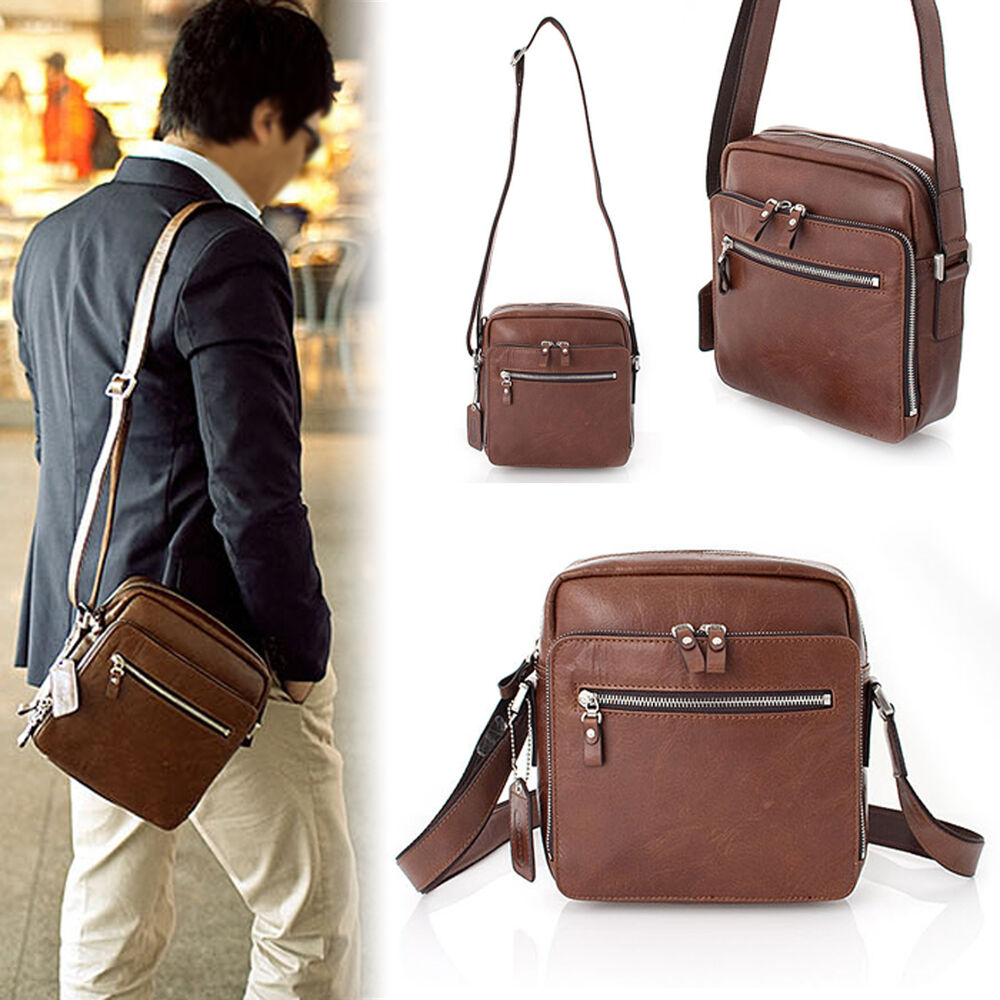 Genuine Leather Man Small Business Bag Messenger Shoulder Bag Men ...