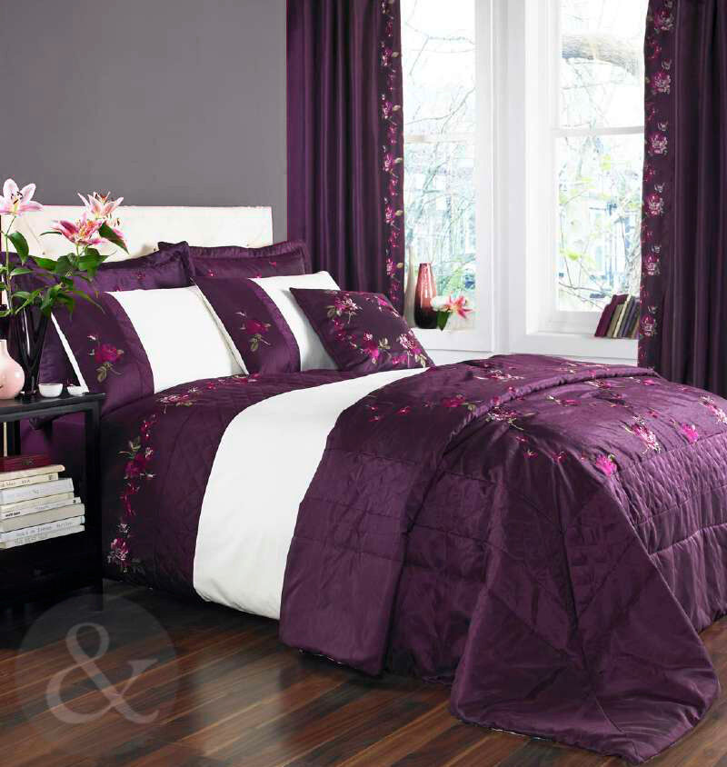 Luxury Embroidered Duvet Cover Aubergine Purple Amp Cream