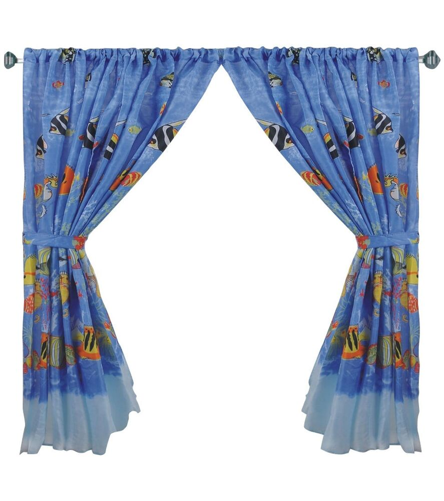 Tropical fish 100 polyester window curtain with tie backs for Fish curtains for windows