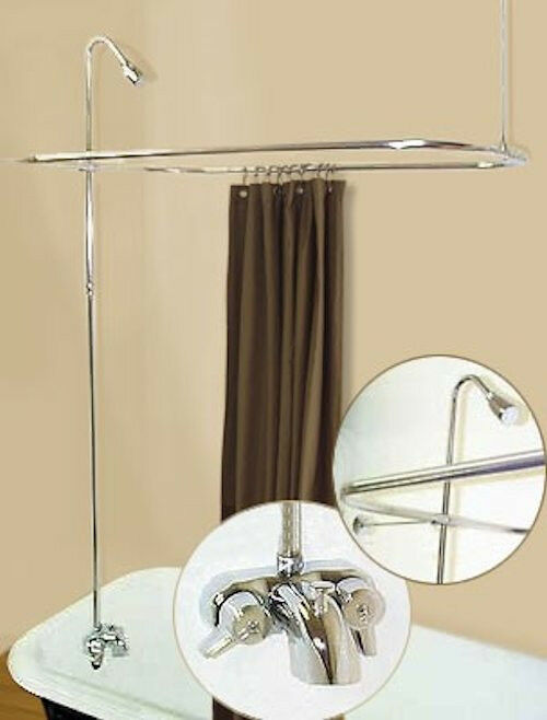 ADD A SHOWER W CURTAIN BAR FOR CLAWFOOT TUB ON LEGS W HEAVY METAL FAUCET EBay