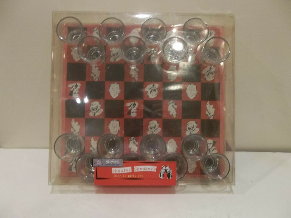 Shooter shot glass checkers over 21 drinking game 13 for Food bar drinking game