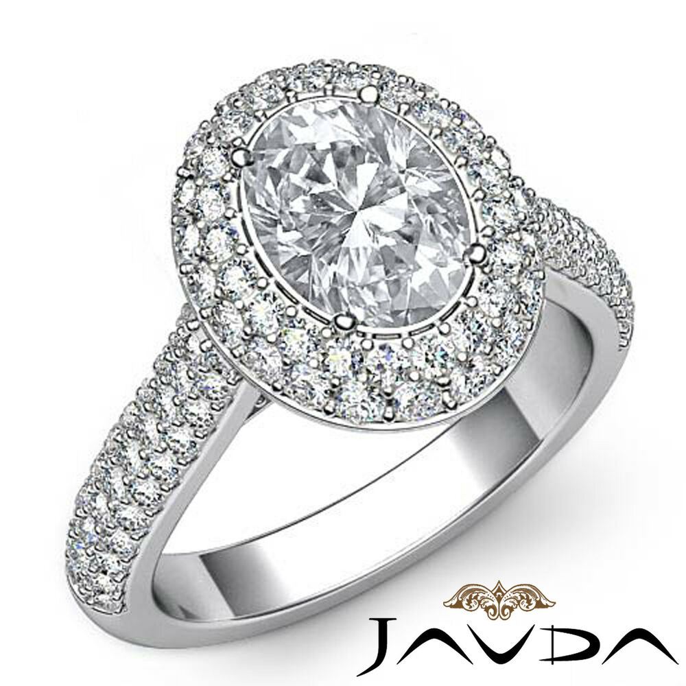 2 5 ct Oval Shape Diamond Engagement Ring Halo Pre Set 14k White Gold I VS2 G