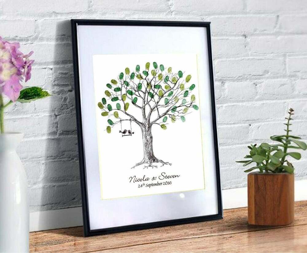 Large personalised wedding fingerprint thumbprint tree alternative