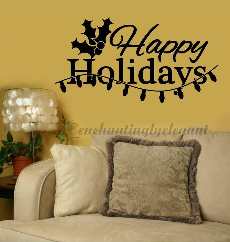 Happy Holidays Christmas Home Decor Vinyl Decal Sticker