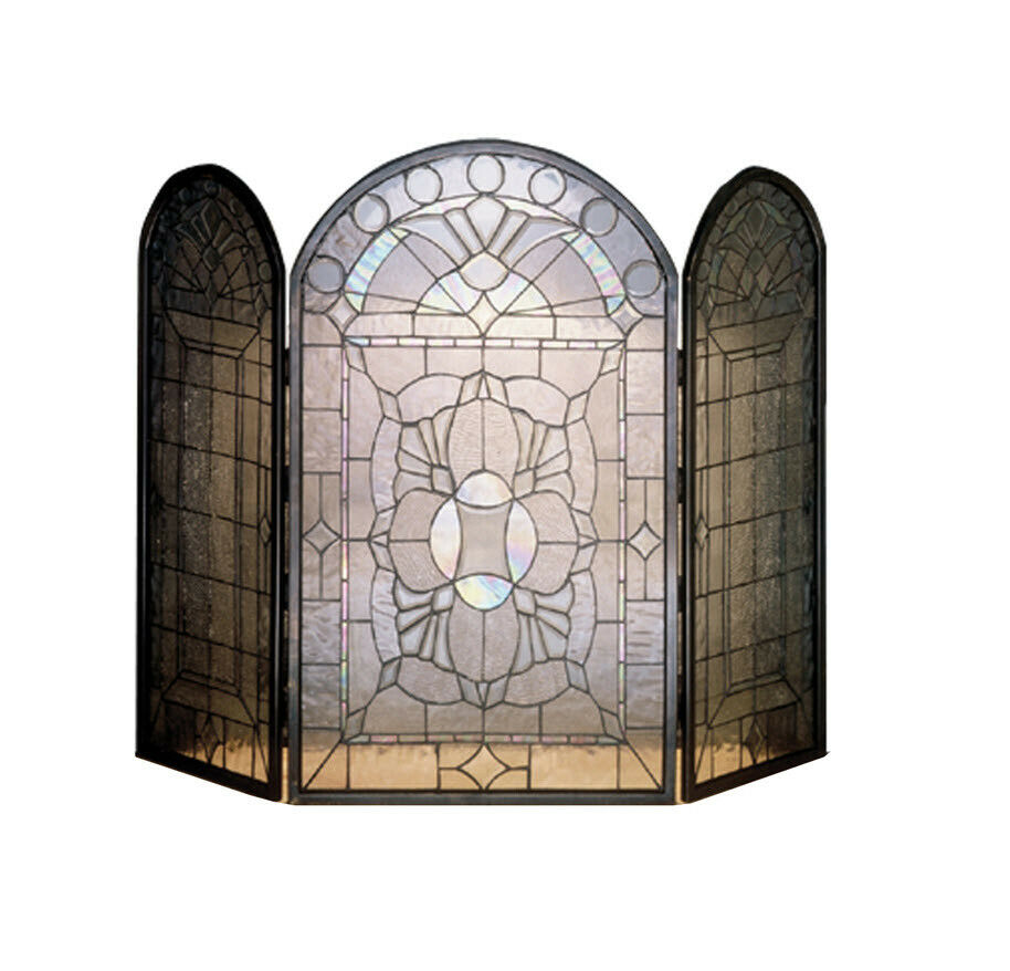Meyda Tiffany Clear Beveled Folding Fireplace Screen Stained Glass Solid Brass Ebay