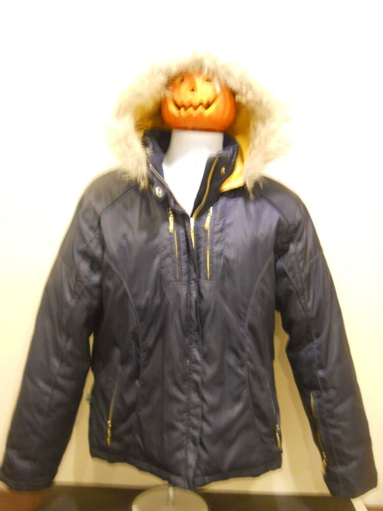Baby Phat Juniors Womens Down Puffer Coat Attached Fur