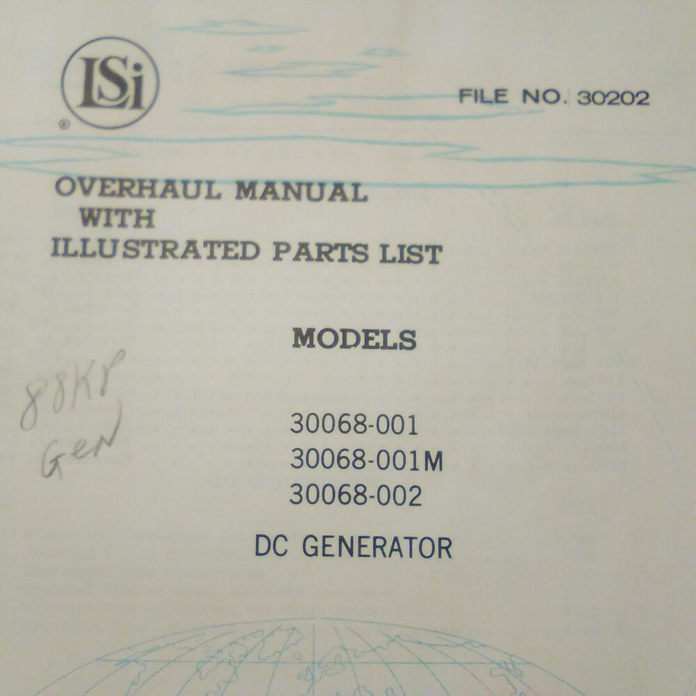 Lear Siegler DC Generator 30068-001, 30068-001M, 30068-002 Overhaul Parts  Manual | eBay