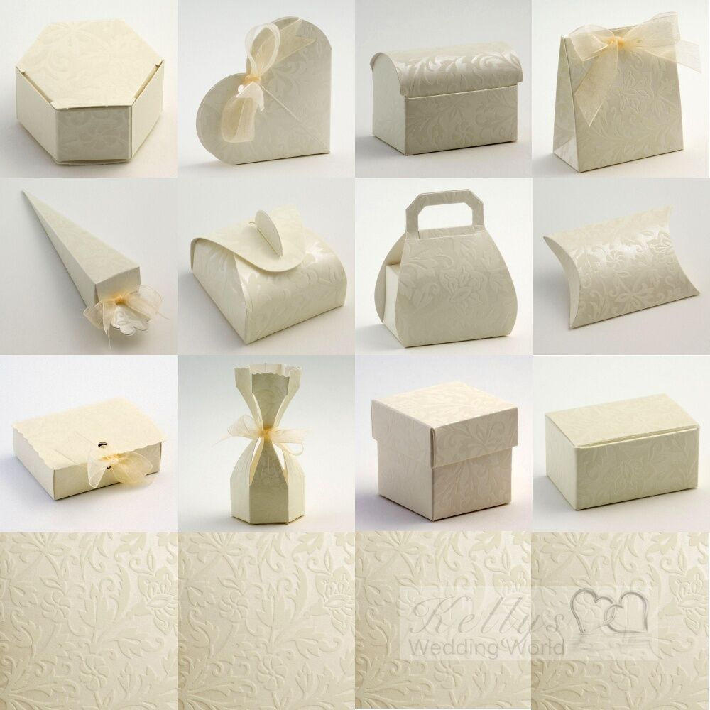 Gift Boxes For Weddings: Diamante Ivory Wedding Favour Gift Boxes Craft DIY