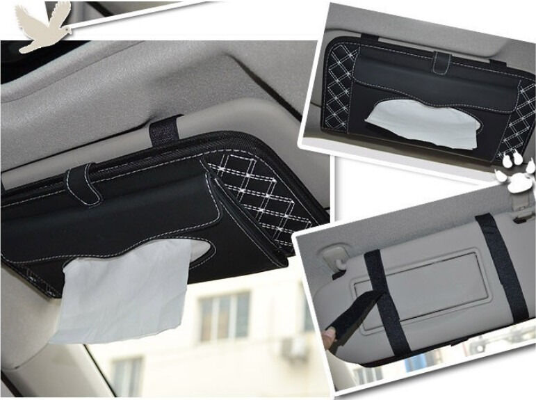 car interior sun visor leather tissue box napkin cover dvd cd folder black white ebay. Black Bedroom Furniture Sets. Home Design Ideas