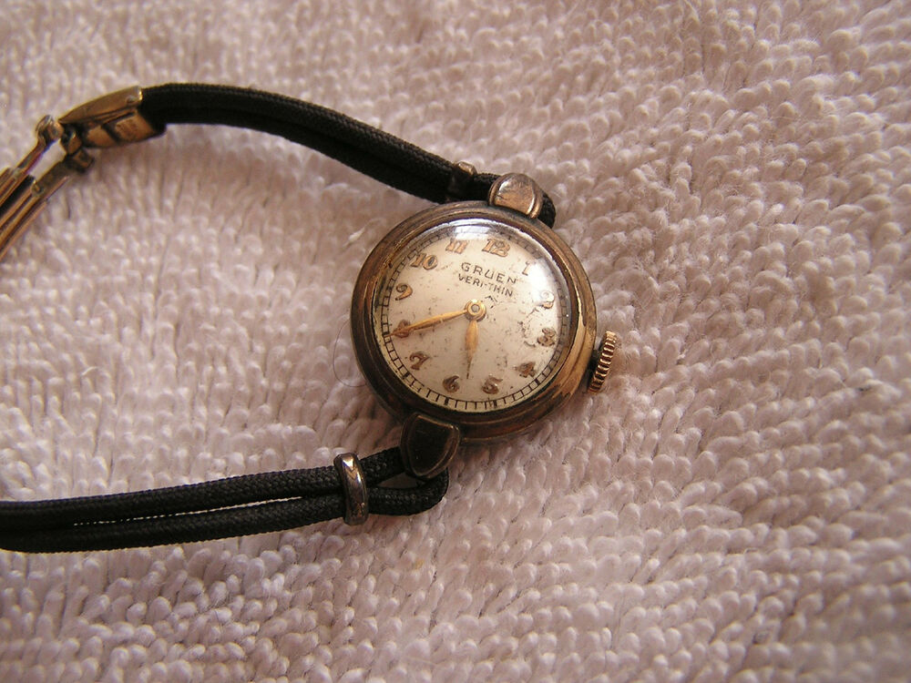 vintage gruen veri thin wrist watch 15 jewels ebay. Black Bedroom Furniture Sets. Home Design Ideas