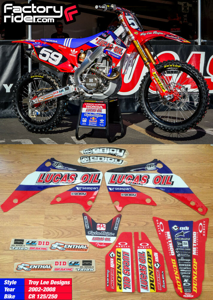 2002 08 honda cr 125 250 lucas oil troy lee designs for Bj custom designs