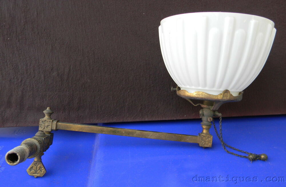 wall sconce gas light c1800 s floral decorative brass gas light wall sconce ribbed glass shade ebay