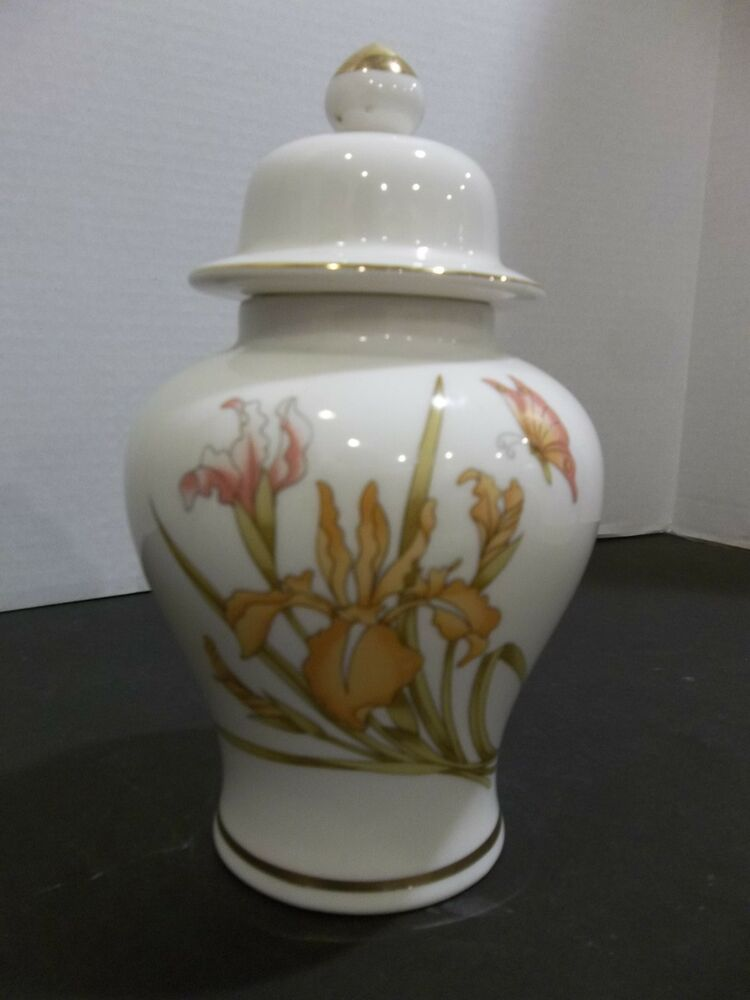 Orange Gold China Japan Japanese Oriental Ginger Jar Butterfly Iris Flowers Ebay