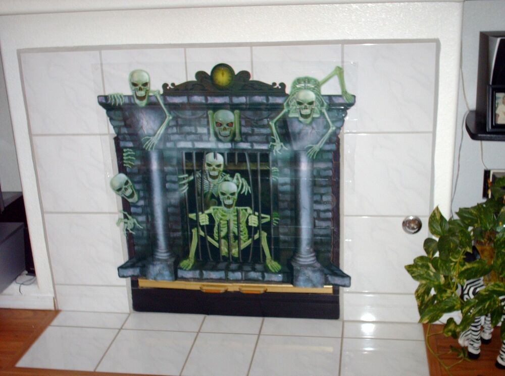 HALLOWEEN Ghost or Skeleton Scary Fireplace - Prop Wall ...