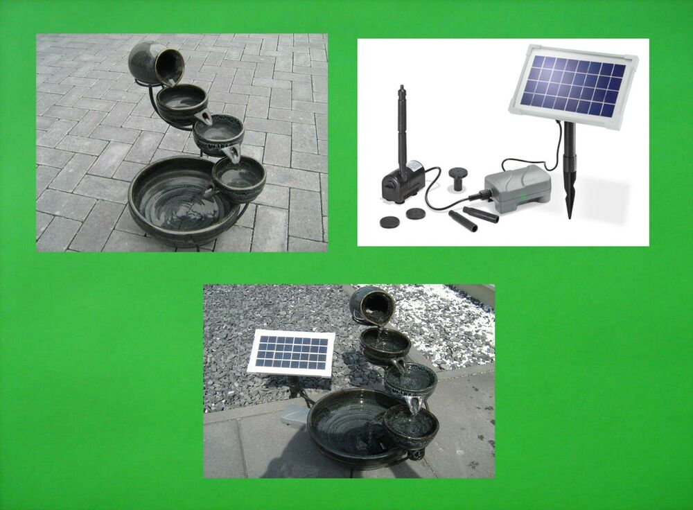 solar solarbrunnen mit akku batterie kaskadenbrunnen gartenbrunnen brunnen ton ebay. Black Bedroom Furniture Sets. Home Design Ideas