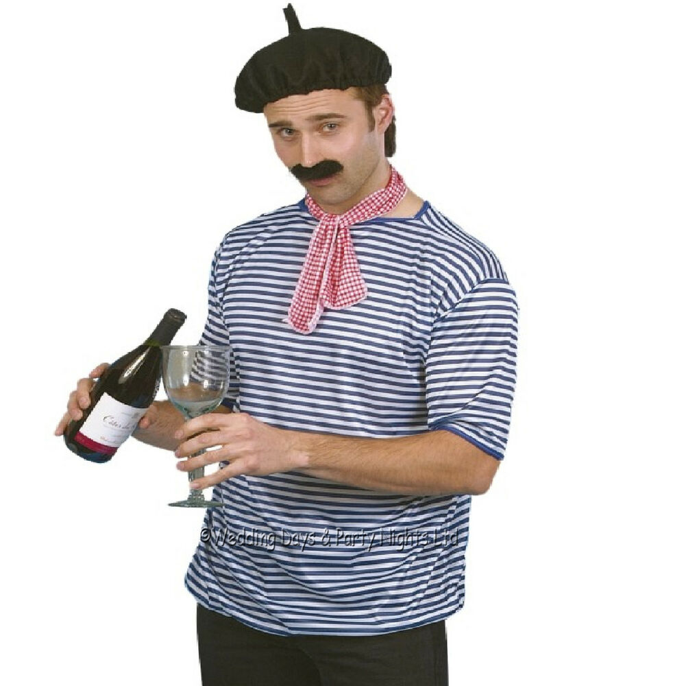 French waiter onion seller top beret neck tie moustache for French striped shirt and beret