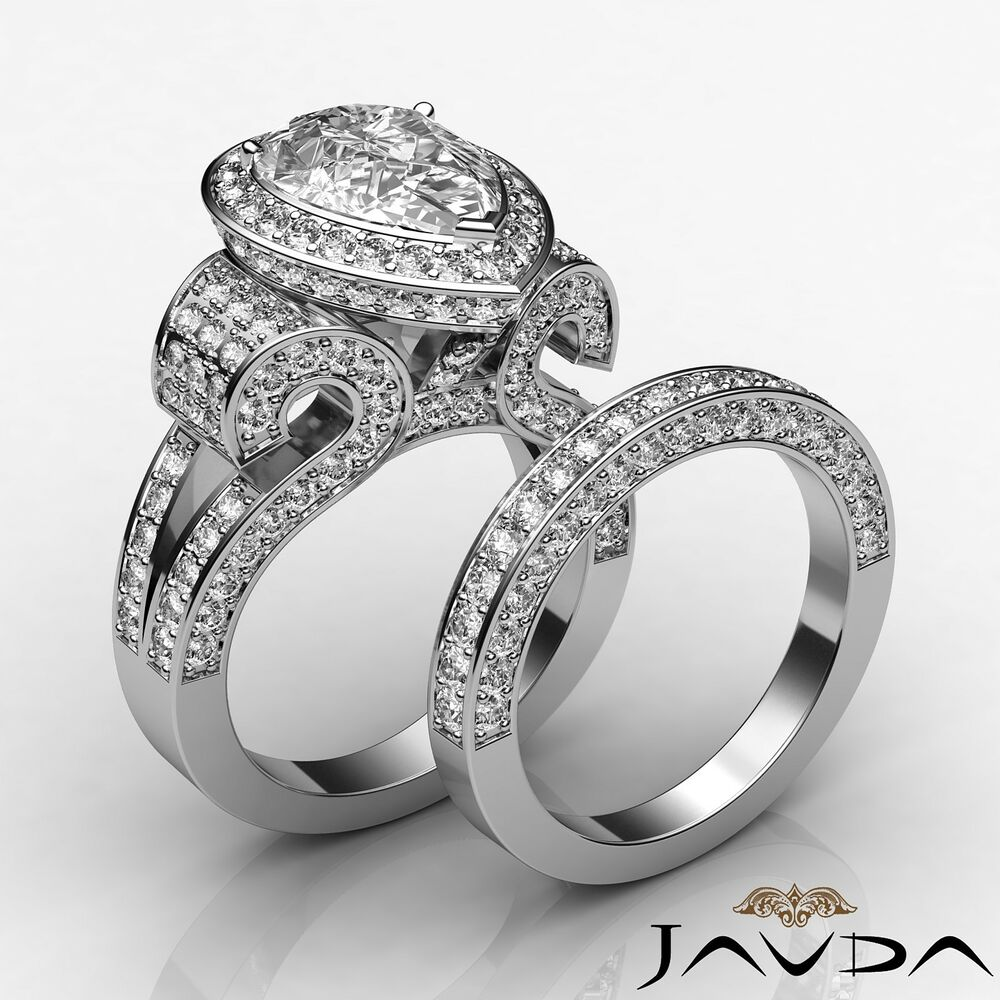 Pear Diamond Vintage Engagement Ring GIA G VS2 Bridal Set