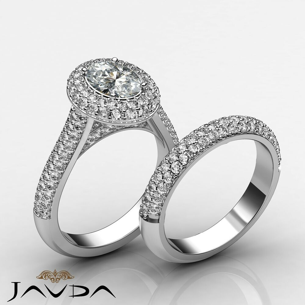 Oval Diamond Halo Pave Engagement Ring GIA H SI1 Bridal