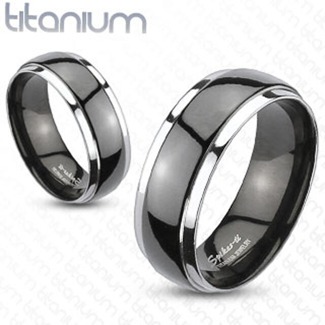 Titanium Two Tone Black IP Dome Mens Ring Couple Wedding Band Engagement Ring