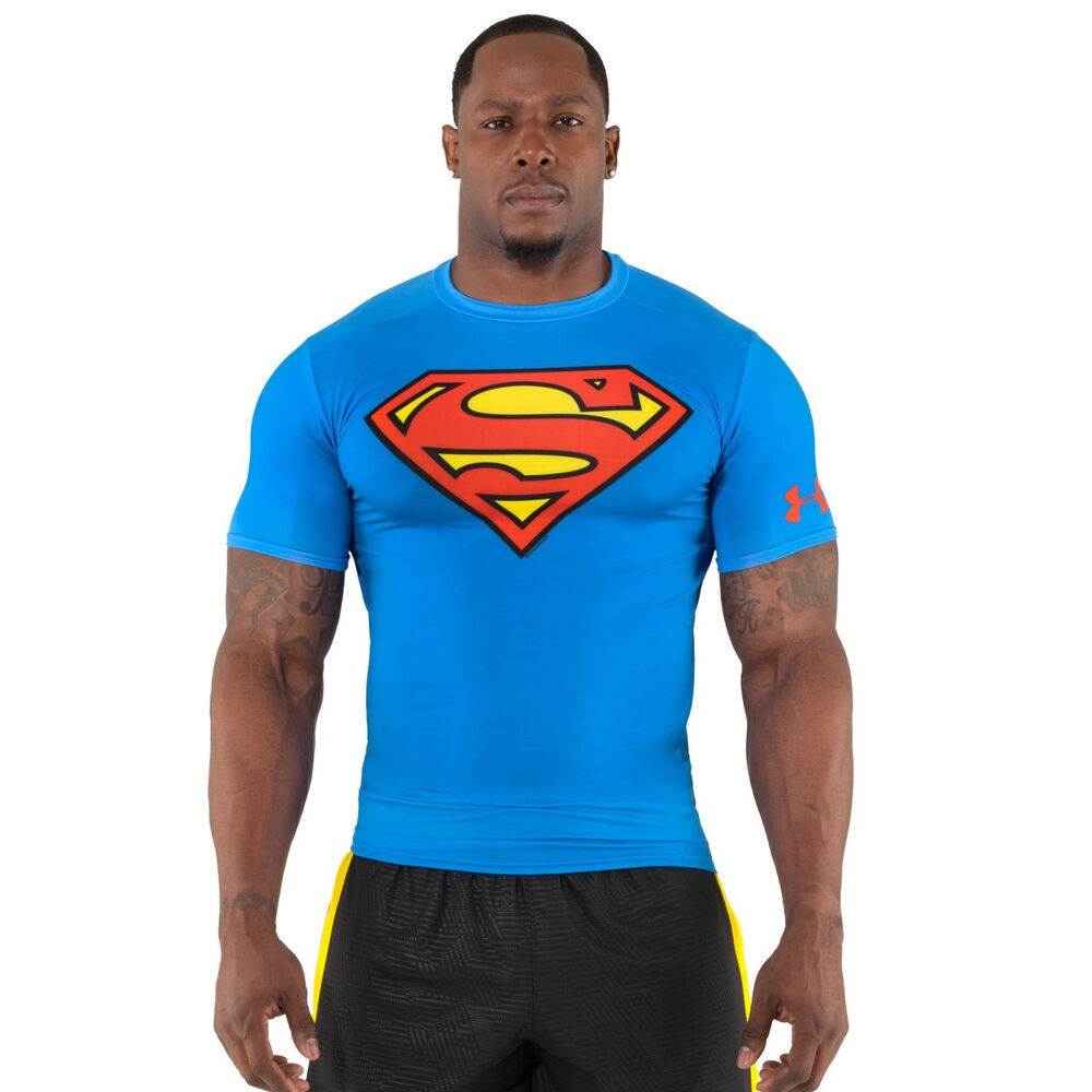 Men 39 s under armour alter ego superman compression shirt for Compression tee shirts for men