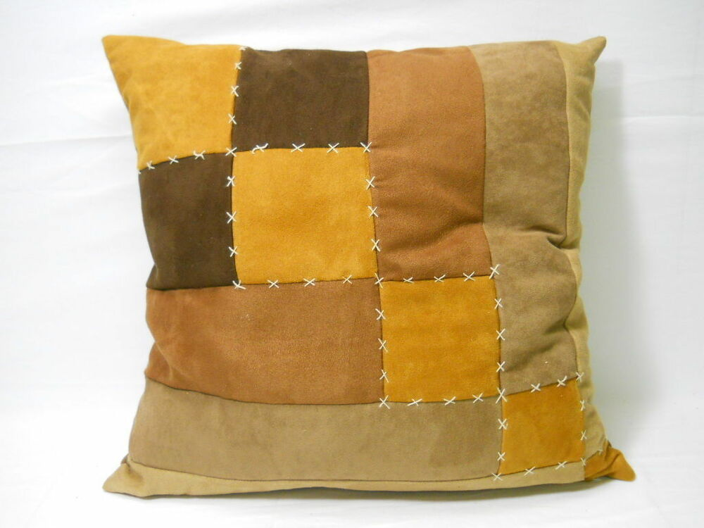 Brown Patches Couch Cushion Accent Pillow Brown Beige