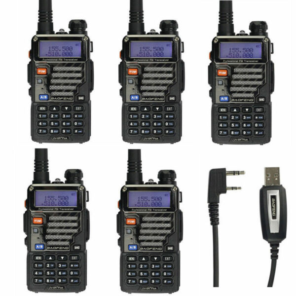 5Pack BaoFeng UV-5R Plus + Cavo USB RICETRASMITTENTE FM DUAL BAND Two-way Radio