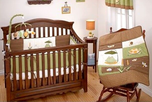 full crib size nojo froggy friends 4 pc nursery bedding. Black Bedroom Furniture Sets. Home Design Ideas