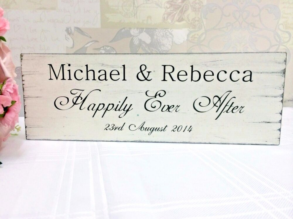 Personalised Wedding Gift Ebay : PERSONALISED HAPPILY EVER AFTER VINTAGE SIGN WEDDING GIFT IDEA eBay